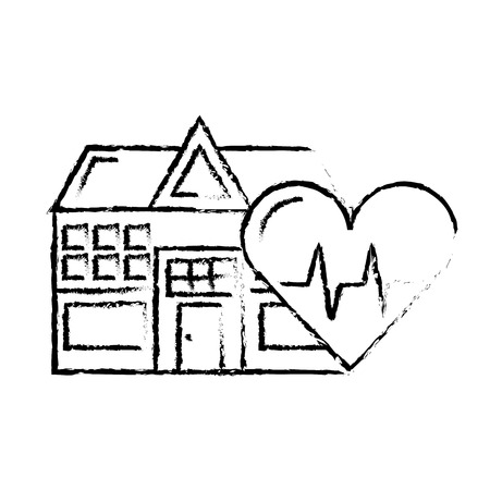 hospital building heart rate health care vector illustration hand drawing