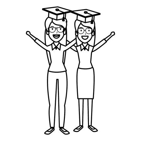 women student celebrating with hat graduation vector illustration