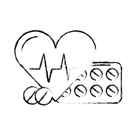 Pastillas de medicación y latidos del corazón médico ilustración vectorial dibujo a mano