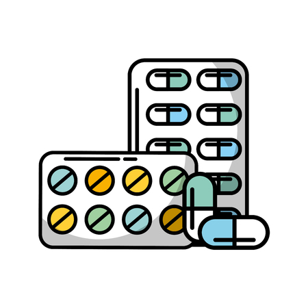 pills blister with capsules packaging medicines healthcare medical vector illustration  イラスト・ベクター素材