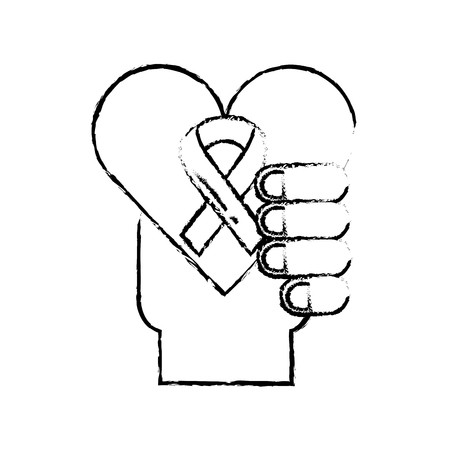 hand holding heart healthcare symbol vector illustration hand drawing