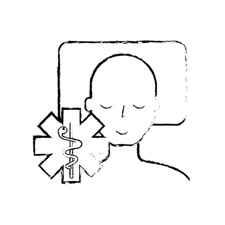 man sleeping on the bed caduceus medical vector illustration hand drawing Banque d'images - 110241061