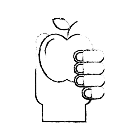 hand holding fruit apple healthcare vector illustration hand drawing