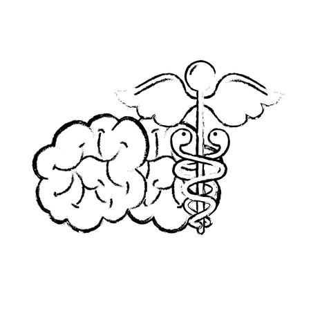 mental brain human care caduceus vector illustration hand drawing Archivio Fotografico - 110241064