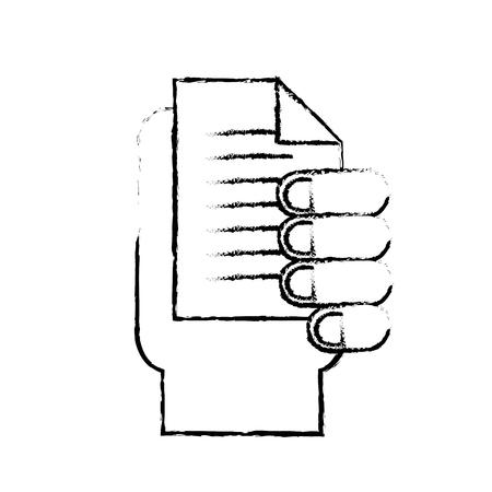 hand holding document paper text vector illustration hand drawing Ilustração