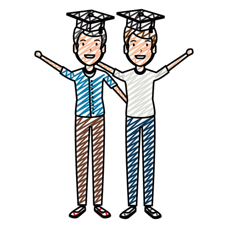 men students celebrating with hat graduation vector illustration design