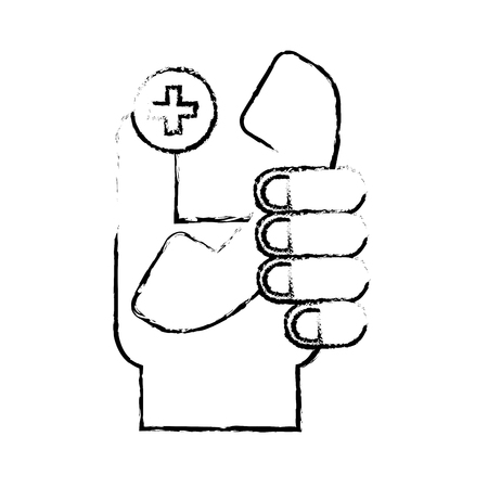 hand holding telephone medical service vector illustration hand drawing Banque d'images - 110241073