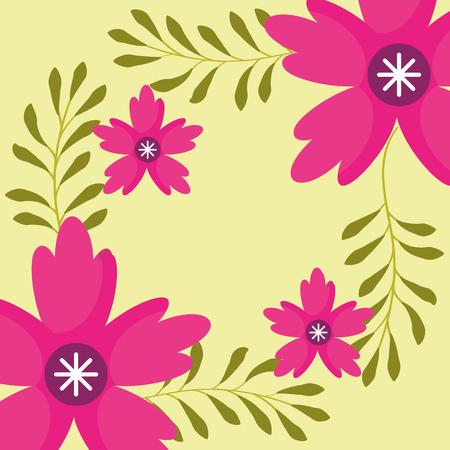 flores rosadas ramas naturaleza floral ilustración vectorial