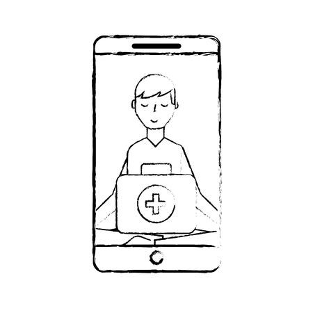 smartphone man meditation medical app vector illustration hand drawing Banque d'images - 107881918