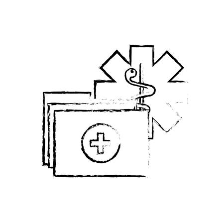 caduceo, carpeta médica, informe, documentos, vector, ilustración, dibujo a mano Ilustración de vector