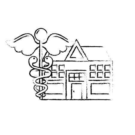 kaduceusz szpital budynek opieka zdrowotna medycyna ilustracja wektorowa rysunek odręczny Ilustracje wektorowe