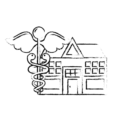 caduceus hospital building healthcare medicine vector illustration hand drawing Illustration