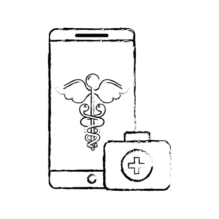smartphone caduceus medical first aid app vector illustration hand drawing Banque d'images - 107862216