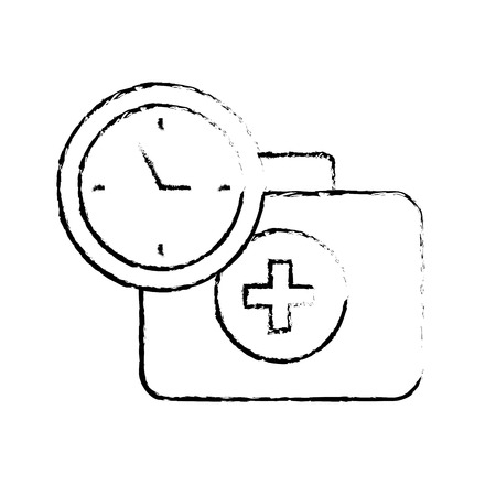 medical suitcase first aid emergency time clock vector illustration hand drawing