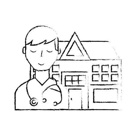 doctor staff hospital building medical vector illustration hand drawing