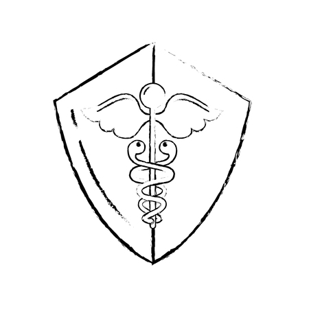 caduceus shield medical healthcare symbol vector illustration hand drawing Ilustrace