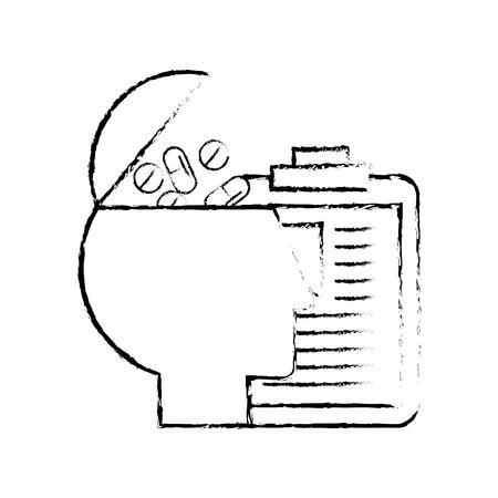 profile human pills medicine clipboard medical report vector illustration hand drawing Banque d'images - 107862795