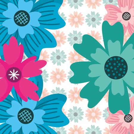 green blue pink flower ornate decoration floral vector illustration