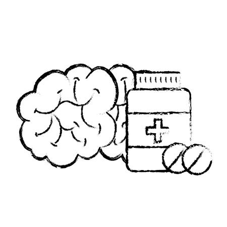 human brain mental care bottle medicine vector illustration hand drawing