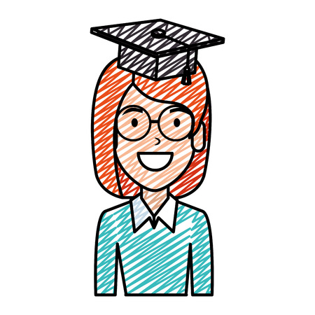 young woman student with hat graduation vector illustration design