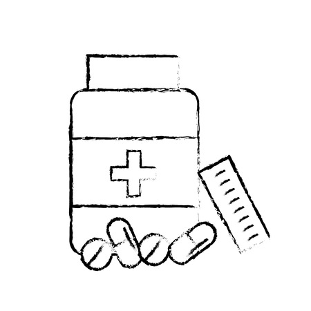 open bottle pills medicine healthcare vector illustration hand drawing