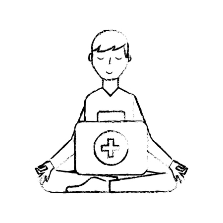 man sitting in meditation with kit first aid vector illustration hand drawing