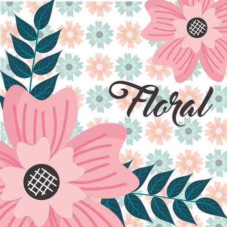 delicate flower leaves floral background vector illustration 일러스트