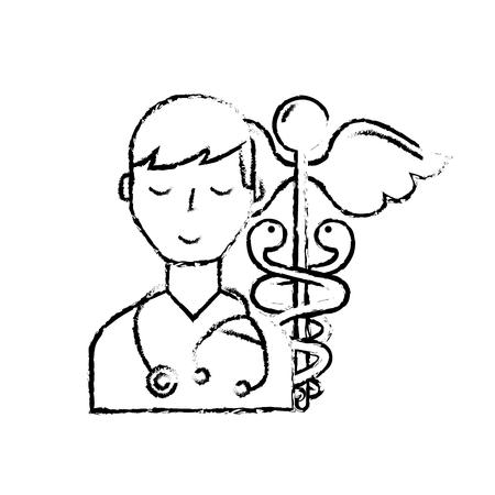 doctor staff medical caduceus emblem vector illustration hand drawing Illustration