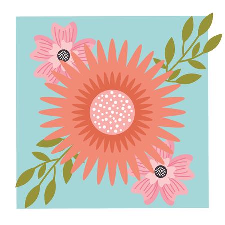three flowers arrangement natural ornament floral vector illustration
