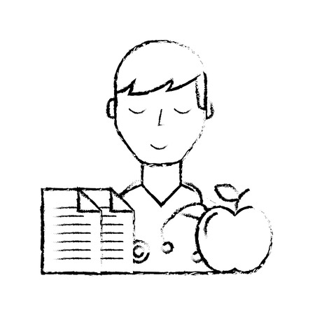 doctor portrait documents and apple healthcare vector illustration hand drawing