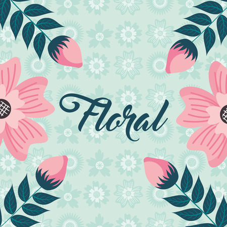 pink flowers sprouts nature bloom floral background vector illustration