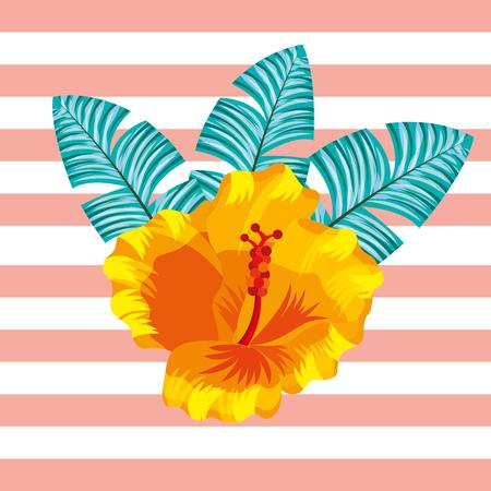 tropical leaves flower plant stripes background vector illustration