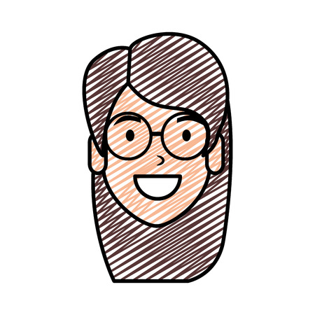 beautiful woman with glasses head character vector illustration design