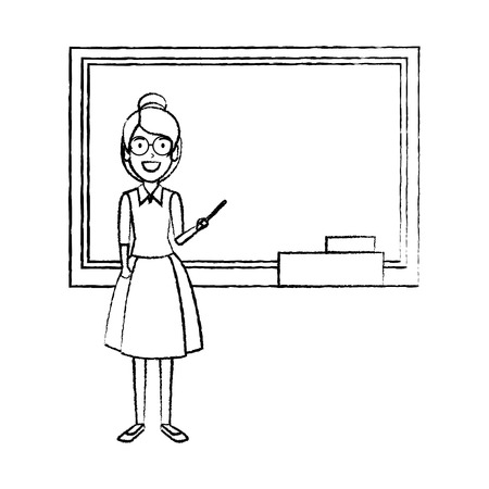 teacher woman with pointer and chalkboard vector illustration design