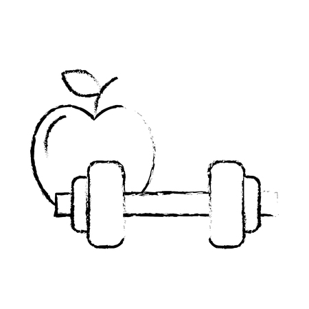 healthcare lifestyle weight barbell and apple vector illustration hand drawing Ilustração