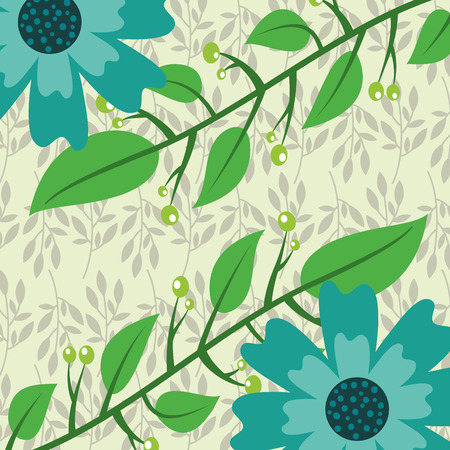 two flowers branches leaves botanical floral vector illustration