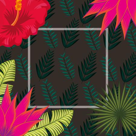 tropical leaves frame pink flowers plants background vector illustration Illustration