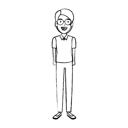 elegant and young man with glasses vector illustration design Ilustrace