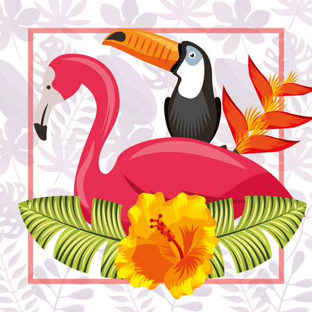 tropical leaves toucan flamingo frame plants heliconia vector illustration Illustration