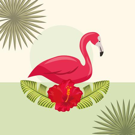 tropical leaves flamingo on flower plants vector illustration