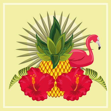 tropical leaves  hibiscus flower flamingo plants vector illustration
