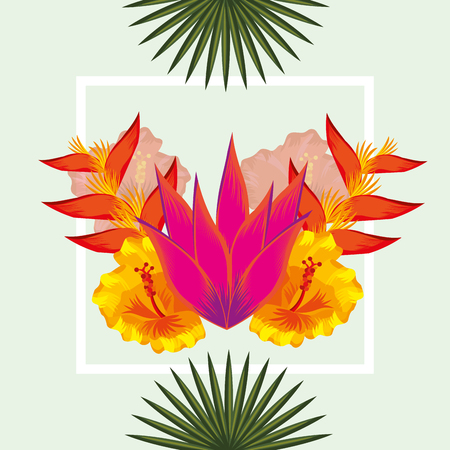 tropical leaves heliconias frame flowers plants vector illustration
