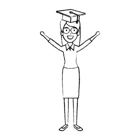 woman student celebrating with hat graduation vector illustration