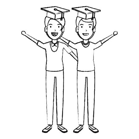 men students celebrating with hat graduation vector illustration design