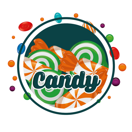 sweet candy caramels sticker sign chips vector illustration