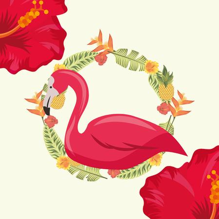 tropical leaves circle plants flamingo  hibiscus flower vector illustration