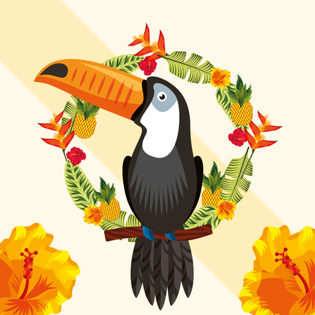 tropical leaves circle plants toucan vector illustration Stock Illustratie