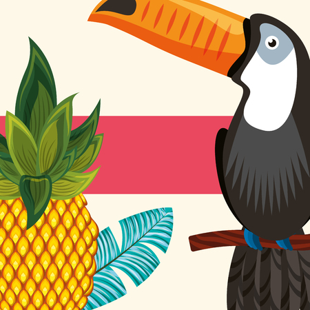 tropical leaves pineapple plant toucan on branch vector illustration