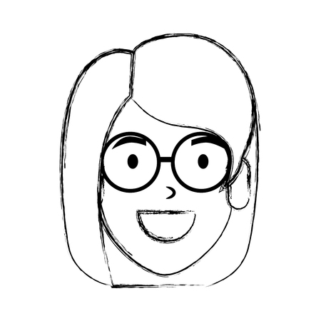 beautiful woman with glasses head character vector illustration design 일러스트