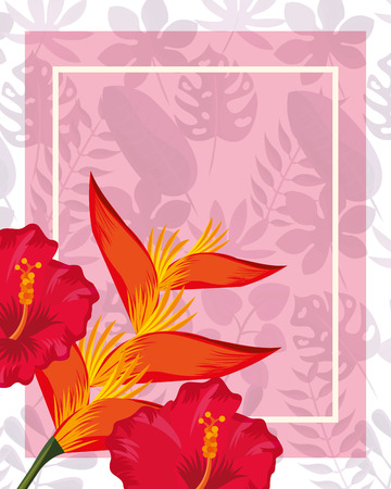 tropical leaves frame heliconia flowers colors vector illustration 일러스트